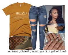 """Black is beautiful, be black and proud."" by avi-ajhana ❤ liked on Polyvore featuring Louis Vuitton and Timberland"