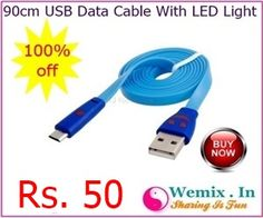 90cm USB Data Cable With LED Light Rs 50
