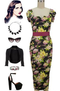50s-Style-BLACK-FLORAL-Rose-Print-Tight-Fit-PINUP-PENCIL-WIGGLE-Midi-Dress