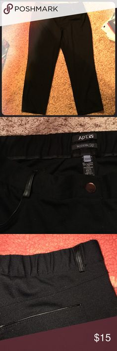 """Black Dress Pants w/ Gold & Faux Leather Accents I love these dress pants... they honesty feel like I'm wearing pajamas but look really nice and fitted. They're called """"Modern Fit"""" on the tag. The button and zipper are gold and the pockets and belt loops are this black faux leather type of material that makes them look really nice. The back half of the waist band is stretchy to fit around your hips. The inseam is 27"""". Apt. 9 Pants Trousers"""