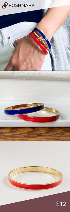 J. Crew Parisian Pair Thin Hand Enameled Bracelets Set of two blue and red hand-enameled bracelets from J. Crew for a dash of French girl vibe. Wear separate or stack them up.  14k shiny yellow gold plate. Great condition, minor wear on the interior of the bangle that's hard to capture on camera.  Gold bangle in cover photo not included. J. Crew Jewelry Bracelets