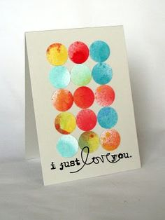 Circle punch card using left over misted/painted paper scraps.