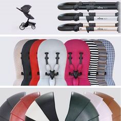 Personalized your mima xari stroller by choosing between 3 chassis colors, 7 seat colors and 8 starter pack colors