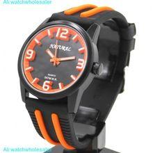 Unisex relojes de pulsera negro esfera Resist silicona negro Band joven de las naranjas de reloj de moda FW848T(China (Mainland))