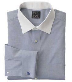 Traveler Traditional Fit Contrast Spread Collar Dress Shirt - Big & Ta