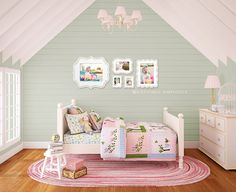 Obviously I am going to have to build my own house in order to get these rooms like this!  I think this is the cutest for a little girl.  I love all the woodwork, the colors, and the chandelier.