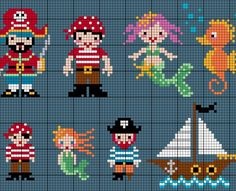 Check Out These Cute Cross Stitch Sea Creatures and Pirates