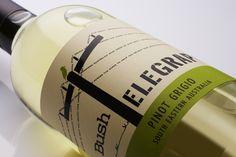 Bush Telegraph, Wine label design, typography, bird