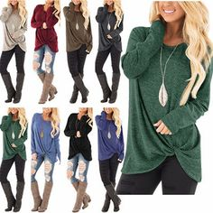 66b2ed3832ab New Womens Tunic Tops Long Sleeve Casual Loose Tops Blouse Fashion Shirt  T-Shirt