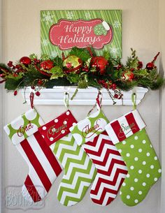 Personalized Christmas Stocking  Custom made by HauteBebeBoutique, $25.00