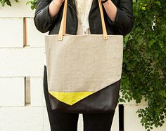 Desert Tote- Linen and Leather Tote Bag in Grey Stone and Dark Brown