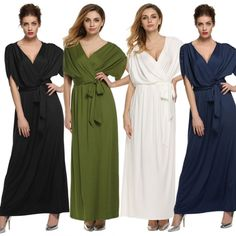 ANGVNS Sexy Women Lady Batwing Sleeve Deep V Neck Solid Maxi Long Dress Party Evening Full Gown with Belt