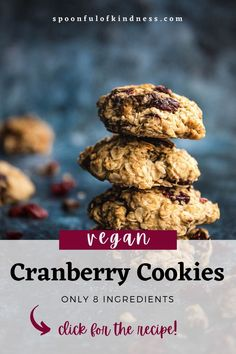 These vegan cranberry oatmeal cookies are thick, crumbly and loaded with cranberries and dark chocolate chunks. You can have a batch ready in under 20 minutes, with only 8 ingredients! #vegan #oatmealcookies