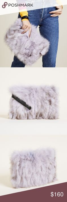 Jocelyn Fox Clutch Jocelyn Fox Clutch  Rich fox fur covers this statement-making Jocelyn clutch. Leather wrist strap at the side. Top zip and lined interior.  Color: Lilac Fur: Dyed fox, from China. Weight: 9oz / 0.26kg.  Measurements Height: 8.25in / 21cm Length: 11in / 28cm Handle drop: 5.5in / 14cm Jocelyn Bags Clutches & Wristlets