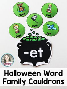 Students will love this witch themed Halloween sort! Sort words by which word family they belong to. Individual words are featured on potion bubbles and each word family ending is on a cauldron. Includes 12 different word families! Simply print, laminate, and cut! As a bonus, each cauldron could be attached to a little basket or bin for students to put each potion bubble into.