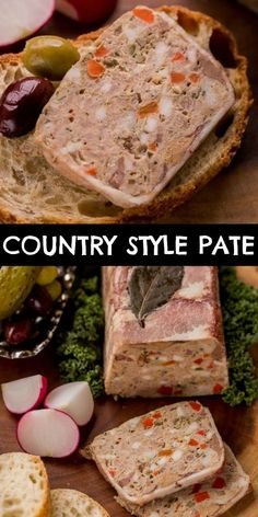 Country Style Pate recipe – rich, incredibly flavorful seasoned meat spread that goes well with a fresh crusty baguette and a pickle. Pate Recipes, Liver Recipes, Vegan Recipes, Terrine Recipes, Pickle Pork Recipe, Foie Gras, Tapas, Good Food, Yummy Food