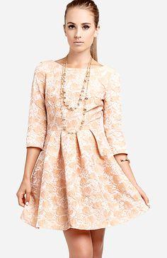 Vintage Jacquard Dress in Peach M | DAILYLOOK