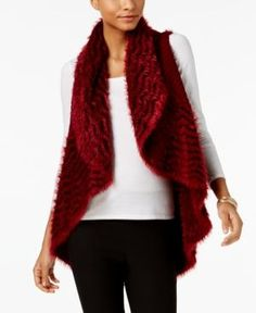Olivia & Grace Chevron Eyelash Vest, Created for Macy's - Black/pomegranate XXL