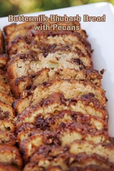This flavorful rhubarb bread is beautiful served warm from the oven, either by itself or with some butter spread over it. If you... Easy Rhubarb Recipes, Fruit Recipes, Sour Milk Recipes, Bread Recipes, Rhubarb Zucchini Recipes, Easy Cake Recipes, Ruhbarb Recipes, Dessert Recipes, Healthy Recipes