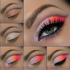 Pink and orange ombre makeup #tutorial #maquiagem #evatornadoblog