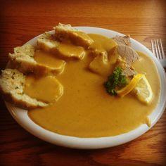 Homemade Svickova with Karlovars dumpling! Best Czech food.