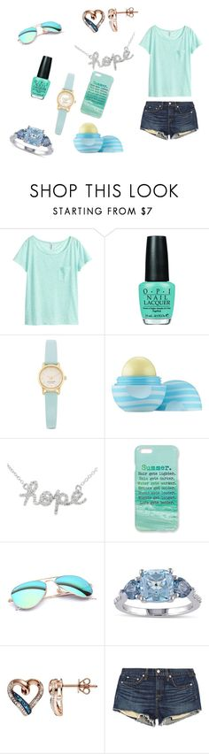 """Blue summer"" by srgrabman ❤ liked on Polyvore featuring H&M, OPI, Kate Spade, Eos, Sydney Evan, Monika Strigel, Ray-Ban, Miadora and rag & bone/JEAN"