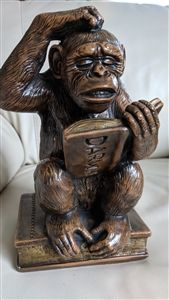 RARE PROGRESSIVE ART 1967 CHALKWARE DARVIN'S CHIMP MONKEY. Three Wise Monkeys, Wooden Rocking Chairs, Metal Picture Frames, Wall Decor Pictures, Vintage Display, Clay Figurine, Dark Brown Color, Darwin, Mosaic Art