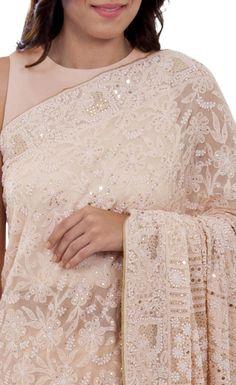 Oyster Pink Intricate Chikankari And Kamdaani Pure Georgette Saree Indian Attire, Indian Outfits, Indian Dresses, Indian Wear, Indian Lehenga, Lehenga Gown, Anarkali, Designer Bridal Lehenga, Designer Sarees