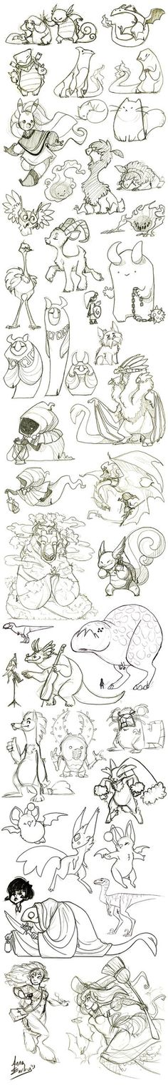 Great Big sketch dump. Love the variety in this piece. Monsters. Cute animals. People. Everything. But I want more. ;)