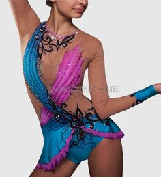 "Blue Bird Gymnastics Leotard! The leotard looks as if a bird has flapped its wings and is ready to flush from this leotard to look for a gymnast who needs fortune very much. Choose the ""Blue Bird"" leotard for important competitions and tournaments. It will definitely bring you luck! #rhythmicgymnastics #fashion #beauty #gymnastics #レオタード"