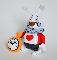 Crochet PATTERN White Rabbit Alice in Wonderland Lewis by Krawka