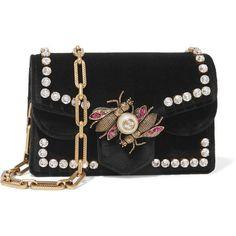 Gucci Gucci - Broadway Embellished Velvet Shoulder Bag - Black (€2.100) ❤ liked on Polyvore featuring bags, handbags, shoulder bags, embellished purse, embossed handbags, shoulder bag purse, gucci and velvet shoulder bag