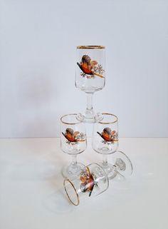 Vintage Pheasant Themed Aperitif Glasses, Shotglasses, Gold Trim by on Etsy Retro Vintage, Vintage Items, Shot Glasses, Pheasant, Alcoholic Drinks, Gold, Bar, Etsy, Common Pheasant