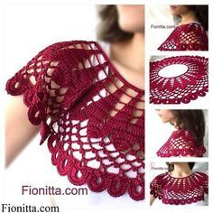 Crochet cherry collar by Fionitta; Crochet Collar Pattern, Col Crochet, Gilet Crochet, Crochet Blouse, Crochet Scarves, Crochet Shawl, Crochet Clothes, Crochet Designs, Crochet Patterns