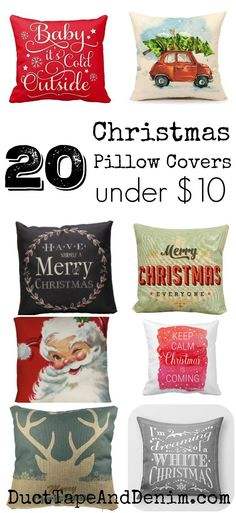 20 Christmas pillow covers ALL under $10.00. More holiday decor, decorations, and crafts on DuctTapeAndDenim.com