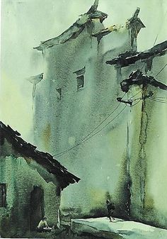 乔雨林 / Qiao Yulin (China) Xidi autumn. watercolour. 37 x 52 cm.