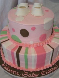 pink polka dot baby shower cake | ... Nutella mousse filling, BC, fondant dots and bows, gumpaste booties