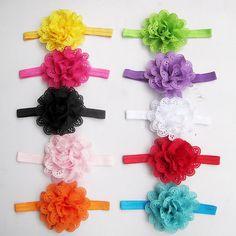 10pcs Chiffon Openwork Flower Kids Baby Girl Headband Hair Band Bow Accessories