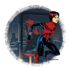 Spider-Girl (unmasked) Spiderman Suits, Spiderman Art, Marvel Art, Marvel Comics, Marvel Spider Gwen, Parker Spiderman, Spider Girl, Spideypool, Comics Universe