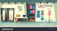Vector girls boutique Female clothing shop interior wardrobe with clothes cartoon mannequin in dress and s Shopping outfit Girls boutique Clothes for women