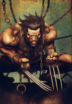 Wolverine,,,Lobezno James Howlett, mejor conocido como Wolverine, es un superhéroe de Marvel Comics, miembro de los X-Men y ocasionalmente, parte de Los Vengadores. , sus poderes radican en poseer un factor curativo extremadamente aumentado junto con un esqueleto recubierto de Adamantium, así como un prodigioso sentido del olfato, lo que le hace un combatiente formidable.