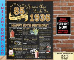 85th Birthday Chalkboard Poster, 1936 Birthday Party Decoration Sign, 85th Birthday Gift for Woman or Man- Born in 1936 | INSTANT DOWNLOAD 80th Birthday Gifts, Sweet 16 Birthday, Birthday Gifts For Women, 21st Birthday, Birthday Signs, Gold Birthday, Chalkboard Party, Birthday Chalkboard, Chalkboard Poster