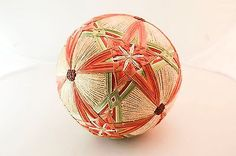 Vintage-8-Hand-Made-Japanese-Temari-Ball-Bells-Inside-Orange-Green-Gold-Toy