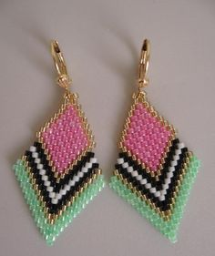 Seed Bead Beadwoven Earrings  Pink/Green by pattimacs on Etsy