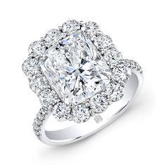 Cushion Ring with Round Melee Diamonds set in Platinum #RahaminovDiamonds