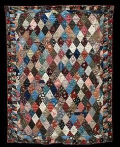 Unknown Quilt Maker -  Collected in Walnut, Iowa -  62 x 80 inches -  Circa 1889  Cottons