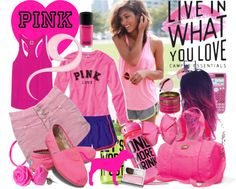 """Live in What You Love with Victoria's Secret PINK"" by fantasiegirl ❤ liked on Polyvore"