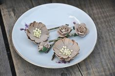 Brown bobby pins Flower hair clips  Flower by FaberAccessories