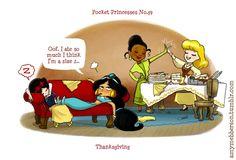 Pocket Princesses by Amy Mebberson  # 39-If Disney princesses lived together: Snow White, Jasmine, Tiana, and Cinderella