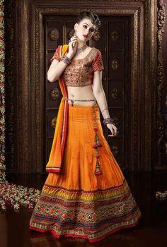 Orange Designer Indian Lehengacholi Fashion Dress ,Indian Dresses